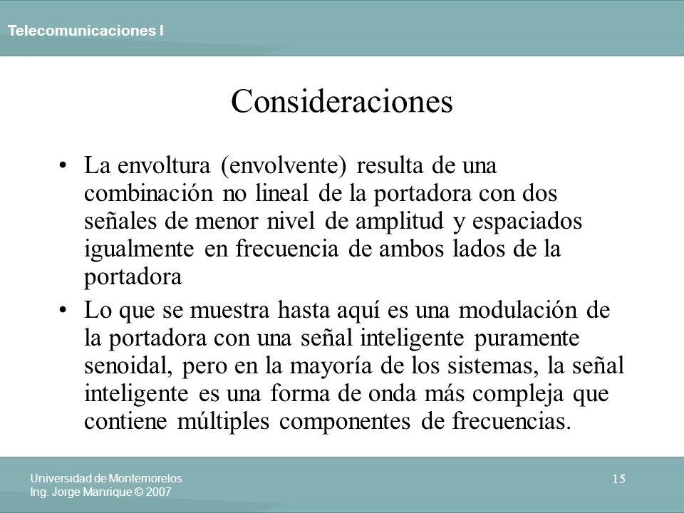 Telecomunicaciones I 15 Universidad de Montemorelos Ing. Jorge Manrique © 2007 Consideraciones La envoltura (envolvente) resulta de una combinación no