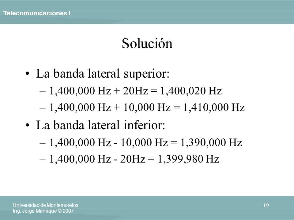 Telecomunicaciones I 19 Universidad de Montemorelos Ing. Jorge Manrique © 2007 Solución La banda lateral superior: –1,400,000 Hz + 20Hz = 1,400,020 Hz
