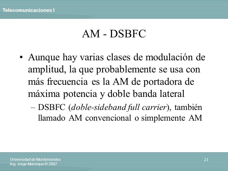 Telecomunicaciones I 21 Universidad de Montemorelos Ing. Jorge Manrique © 2007 AM - DSBFC Aunque hay varias clases de modulación de amplitud, la que p