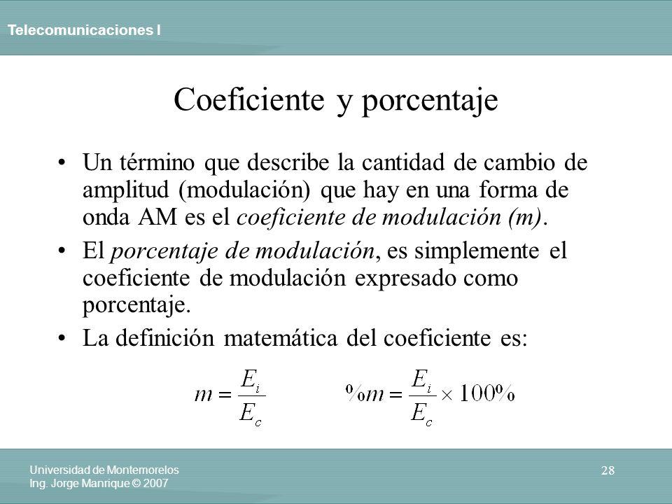 Telecomunicaciones I 28 Universidad de Montemorelos Ing. Jorge Manrique © 2007 Coeficiente y porcentaje Un término que describe la cantidad de cambio