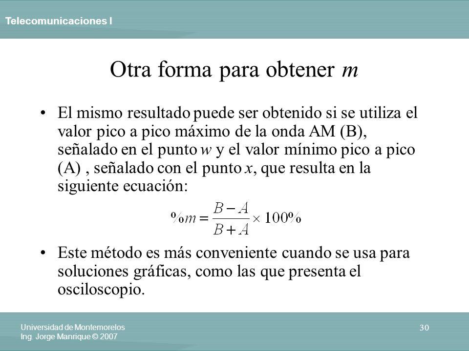 Telecomunicaciones I 30 Universidad de Montemorelos Ing. Jorge Manrique © 2007 Otra forma para obtener m El mismo resultado puede ser obtenido si se u