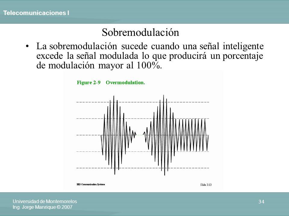 Telecomunicaciones I 34 Universidad de Montemorelos Ing. Jorge Manrique © 2007 Sobremodulación La sobremodulación sucede cuando una señal inteligente