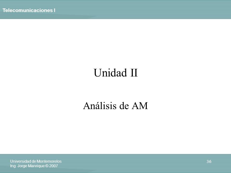 Telecomunicaciones I 36 Universidad de Montemorelos Ing. Jorge Manrique © 2007 Unidad II Análisis de AM