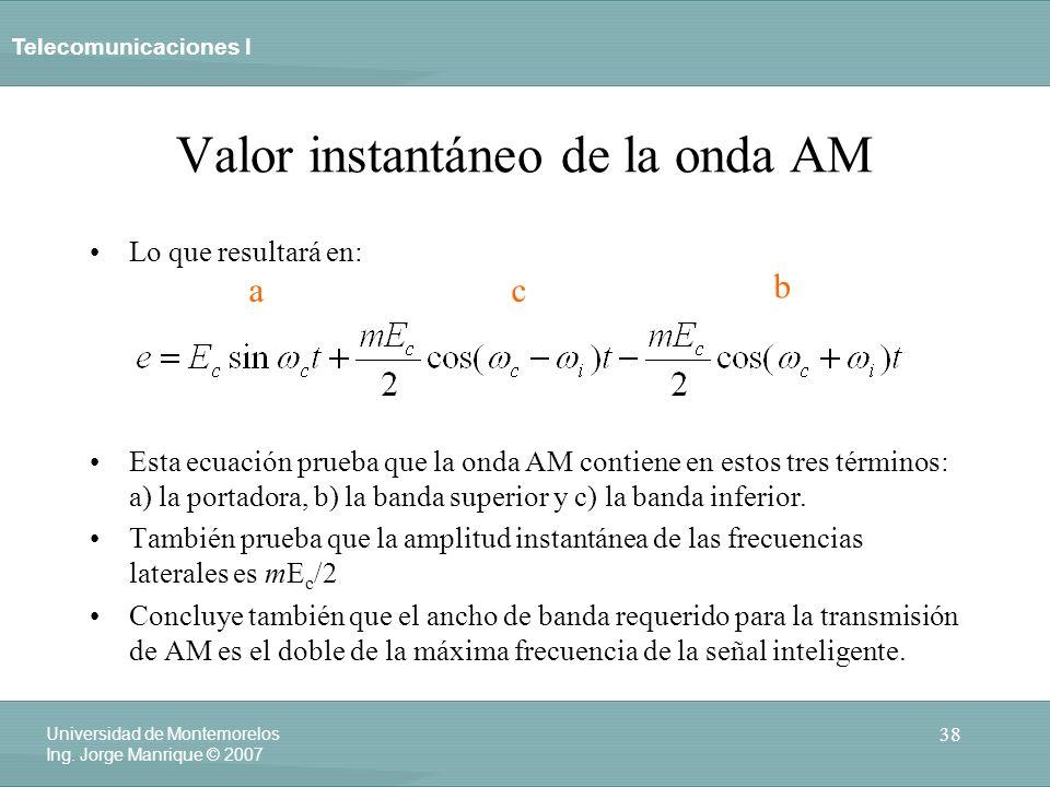 Telecomunicaciones I 38 Universidad de Montemorelos Ing. Jorge Manrique © 2007 Valor instantáneo de la onda AM Lo que resultará en: Esta ecuación prue