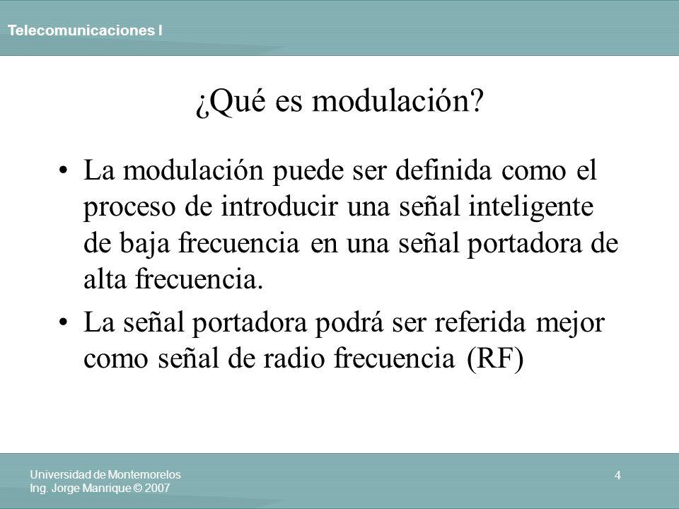 Telecomunicaciones I 4 Universidad de Montemorelos Ing. Jorge Manrique © 2007 ¿Qué es modulación? La modulación puede ser definida como el proceso de