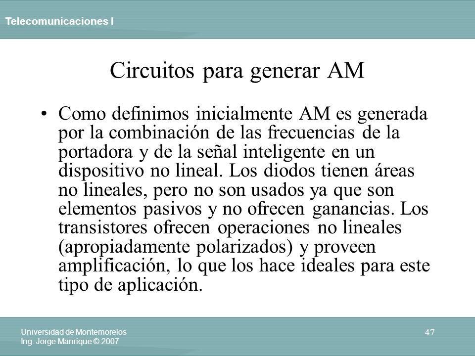 Telecomunicaciones I 47 Universidad de Montemorelos Ing. Jorge Manrique © 2007 Circuitos para generar AM Como definimos inicialmente AM es generada po