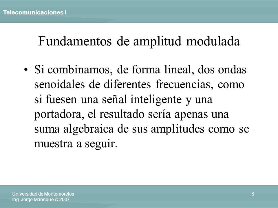 Telecomunicaciones I 5 Universidad de Montemorelos Ing. Jorge Manrique © 2007 Fundamentos de amplitud modulada Si combinamos, de forma lineal, dos ond