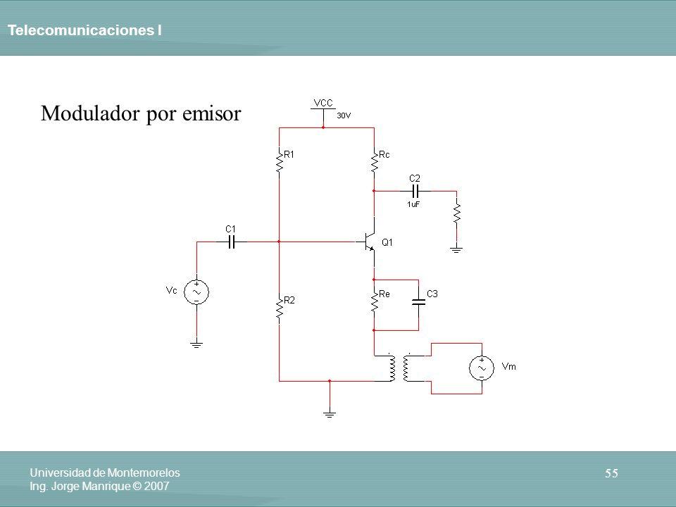 Telecomunicaciones I 55 Universidad de Montemorelos Ing. Jorge Manrique © 2007 Modulador por emisor