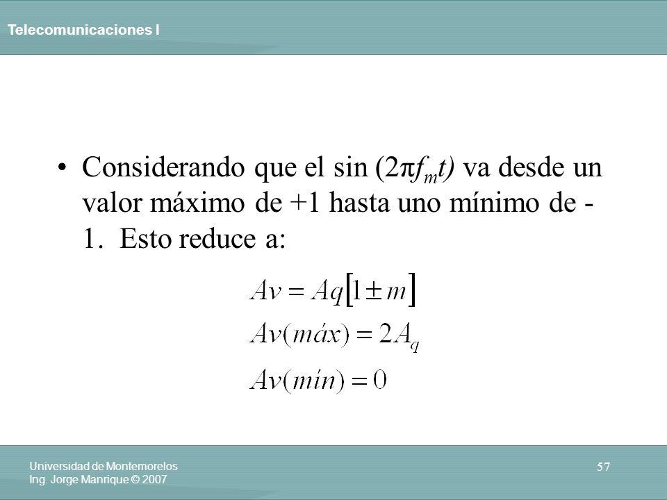Telecomunicaciones I 57 Universidad de Montemorelos Ing. Jorge Manrique © 2007 Considerando que el sin (2πf m t) va desde un valor máximo de +1 hasta