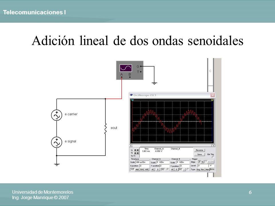 Telecomunicaciones I 6 Universidad de Montemorelos Ing. Jorge Manrique © 2007 Adición lineal de dos ondas senoidales