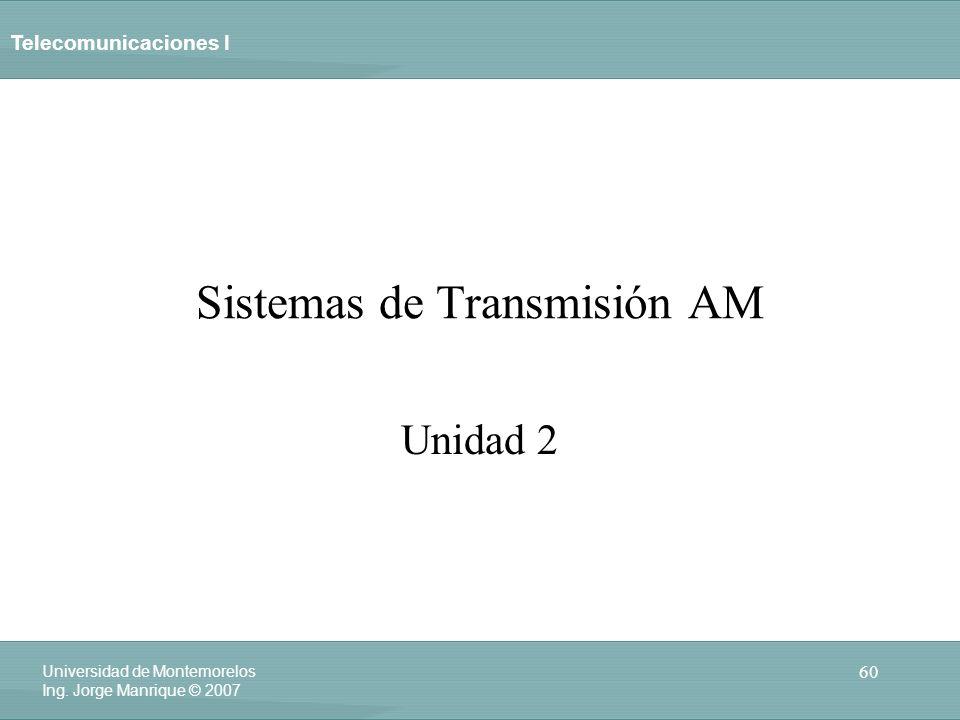 Telecomunicaciones I 60 Universidad de Montemorelos Ing. Jorge Manrique © 2007 Sistemas de Transmisión AM Unidad 2