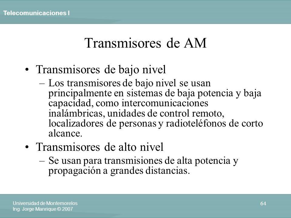 Telecomunicaciones I 64 Universidad de Montemorelos Ing. Jorge Manrique © 2007 Transmisores de AM Transmisores de bajo nivel –Los transmisores de bajo