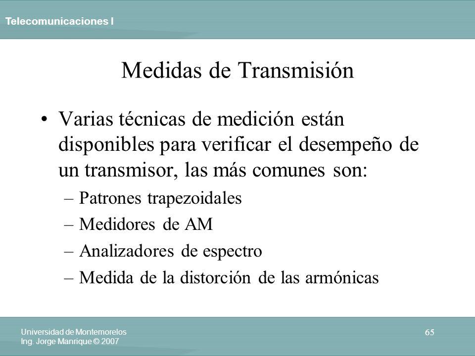 Telecomunicaciones I 65 Universidad de Montemorelos Ing. Jorge Manrique © 2007 Medidas de Transmisión Varias técnicas de medición están disponibles pa