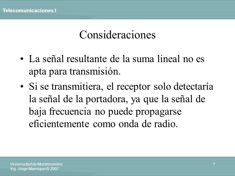 Telecomunicaciones I 7 Universidad de Montemorelos Ing. Jorge Manrique © 2007 Consideraciones La señal resultante de la suma lineal no es apta para tr