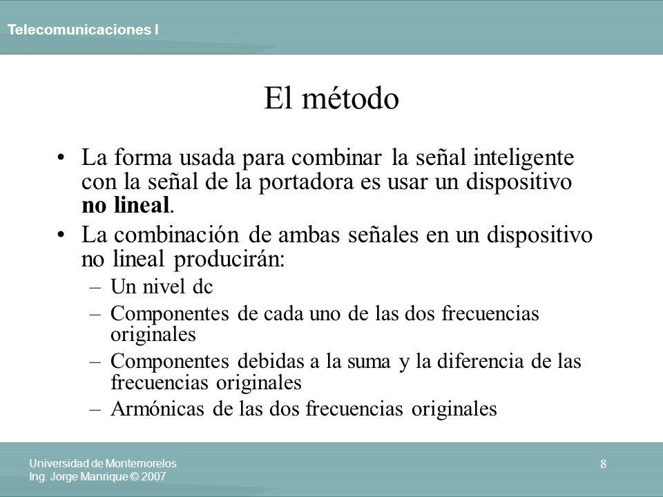 Telecomunicaciones I 8 Universidad de Montemorelos Ing. Jorge Manrique © 2007 El método La forma usada para combinar la señal inteligente con la señal