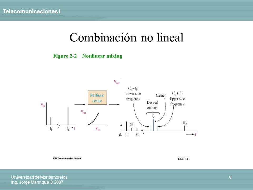 Telecomunicaciones I 9 Universidad de Montemorelos Ing. Jorge Manrique © 2007 Combinación no lineal