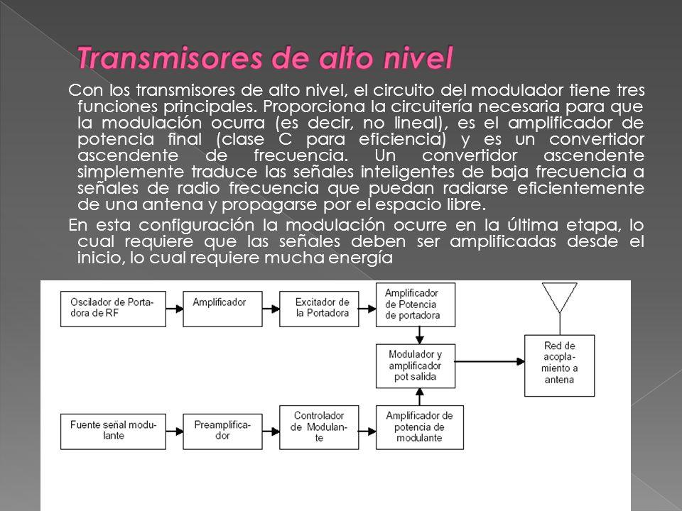 Con los transmisores de alto nivel, el circuito del modulador tiene tres funciones principales. Proporciona la circuitería necesaria para que la modul