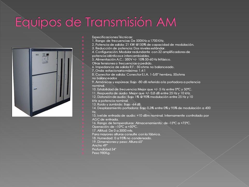 Especificaciones Técnicas: 1. Rango de frecuencias: De 500KHz a 1700 KHz. 2. Potencia de salida: 21 KW @150% de capacidad de modulación. 3. Reducción