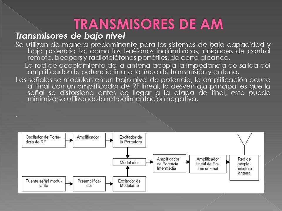 Transmisores de bajo nivel Se utilizan de manera predominante para los sistemas de baja capacidad y baja potencia tal como los teléfonos inalámbricos,