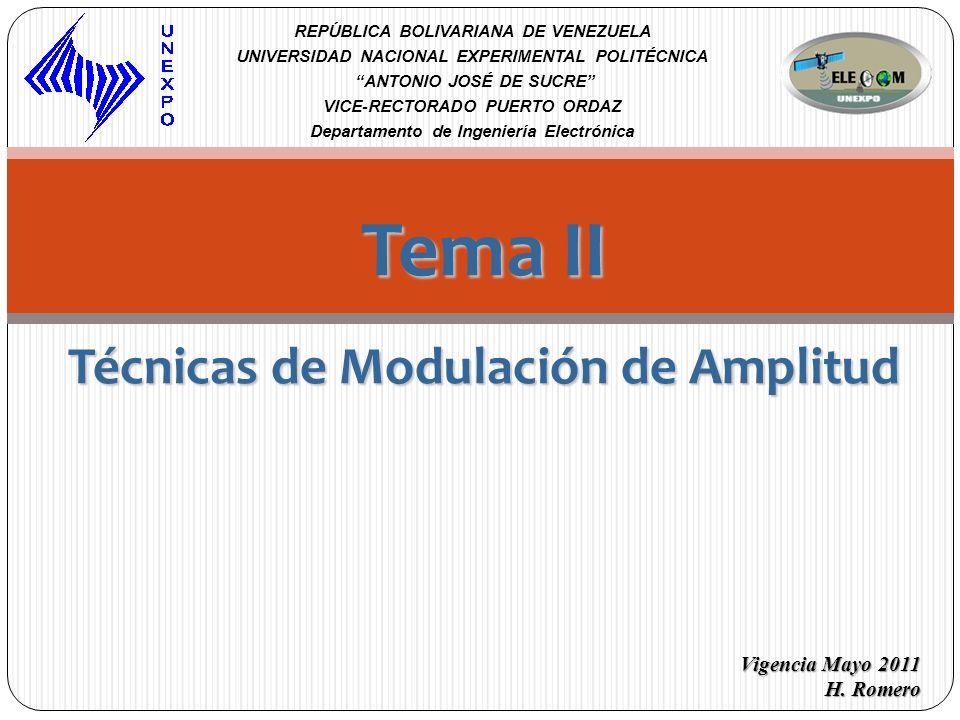 Tema II Técnicas de Modulación de Amplitud REPÚBLICA BOLIVARIANA DE VENEZUELA UNIVERSIDAD NACIONAL EXPERIMENTAL POLITÉCNICA ANTONIO JOSÉ DE SUCRE VICE
