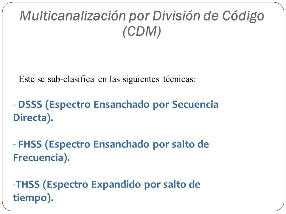 Multicanalización por División de Código (CDM) Este se sub-clasifica en las siguientes técnicas: - DSSS (Espectro Ensanchado por Secuencia Directa). -