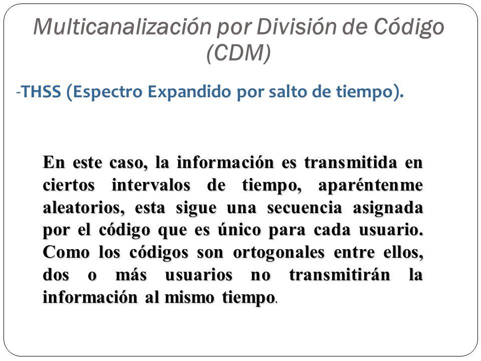 Multicanalización por División de Código (CDM) En este caso, la información es transmitida en ciertos intervalos de tiempo, aparéntenme aleatorios, es