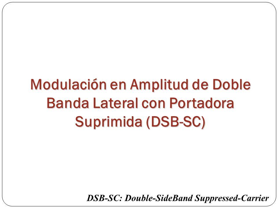 Modulación en Amplitud de Doble Banda Lateral con Portadora Suprimida (DSB-SC) DSB-SC: Double-SideBand Suppressed-Carrier
