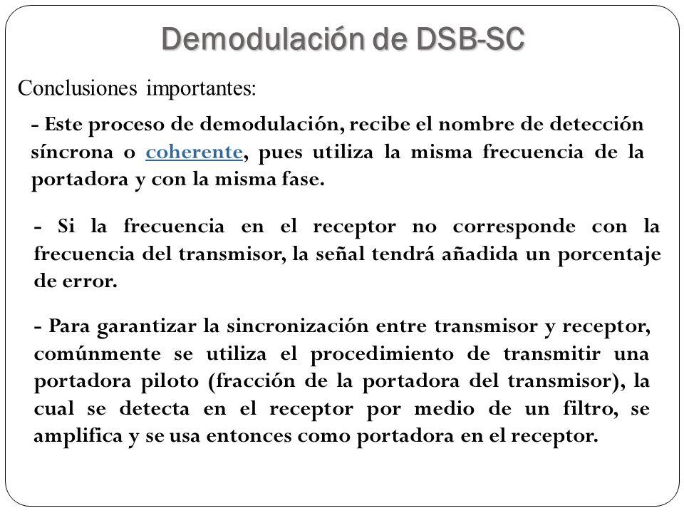 34 - Este proceso de demodulación, recibe el nombre de detección síncrona o coherente, pues utiliza la misma frecuencia de la portadora y con la misma