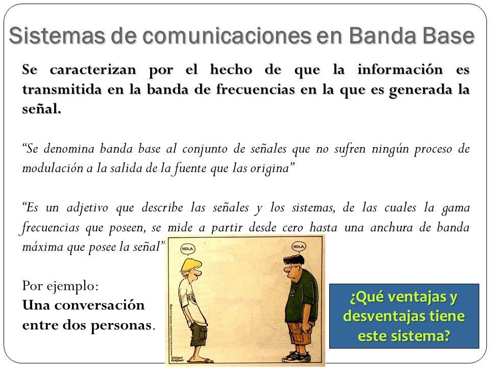 Sistemas de comunicaciones en Banda Base 4 Se caracterizan por el hecho de que la información es transmitida en la banda de frecuencias en la que es g