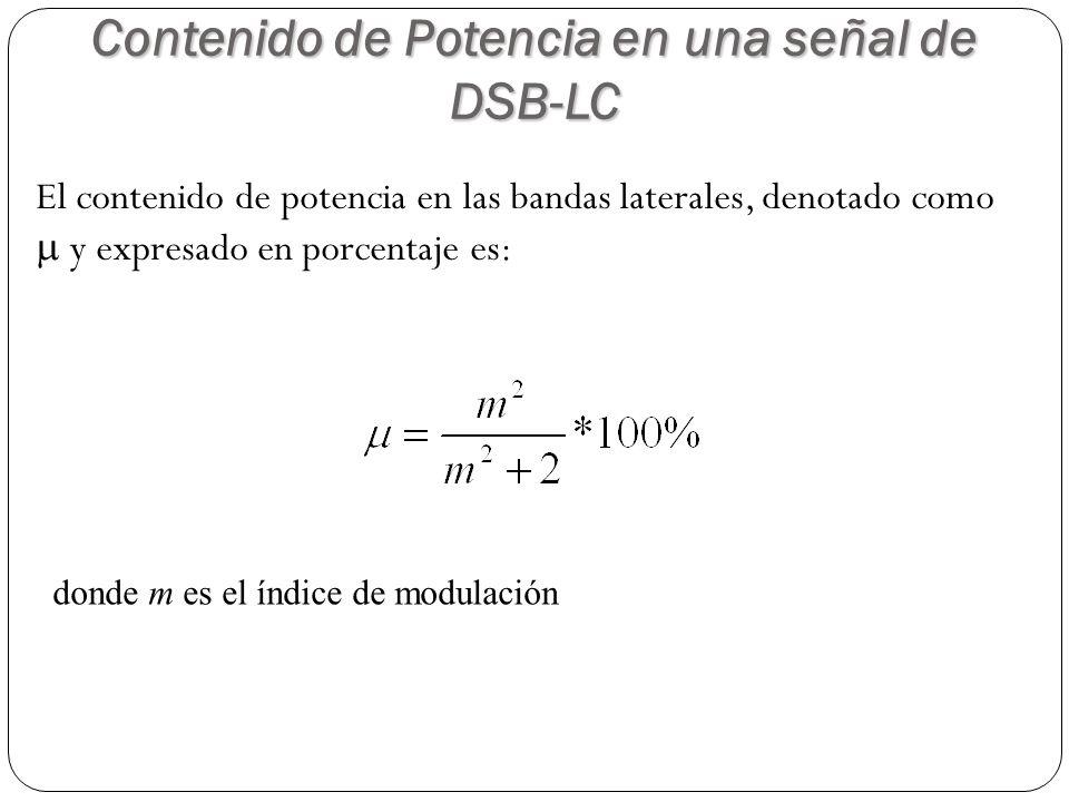 El contenido de potencia en las bandas laterales, denotado como y expresado en porcentaje es: Contenido de Potencia en una señal de DSB-LC donde m es