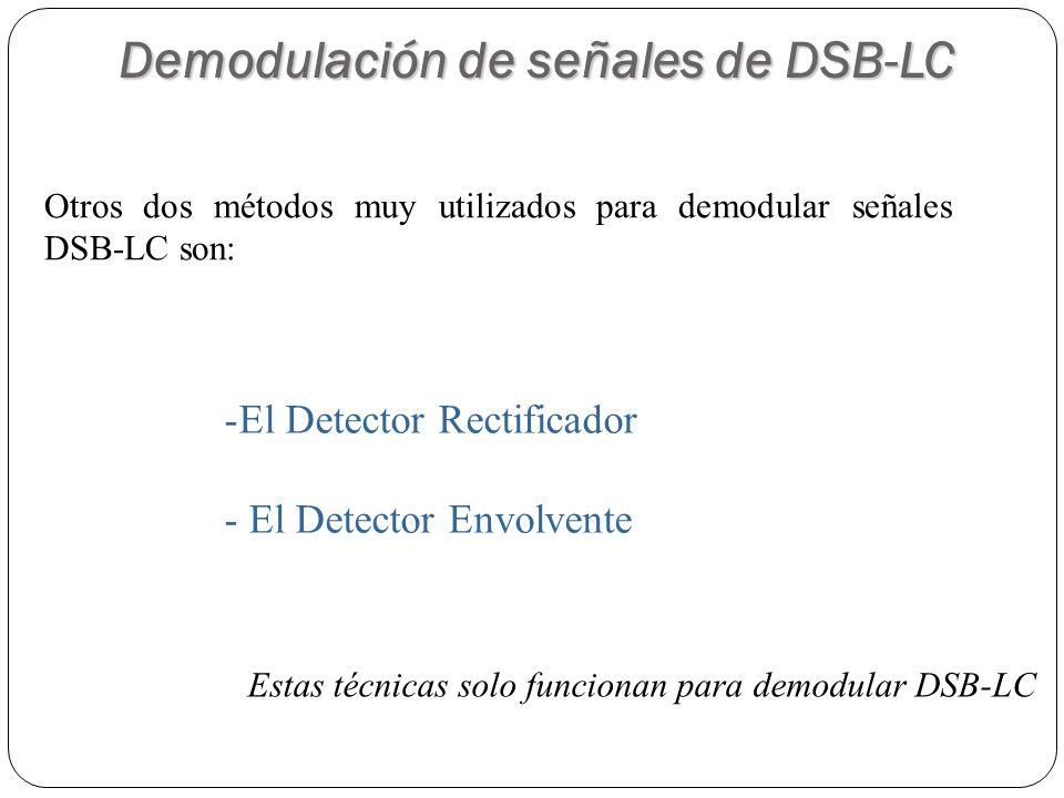 51 Demodulación de señales de DSB-LC Otros dos métodos muy utilizados para demodular señales DSB-LC son: -El Detector Rectificador - El Detector Envol