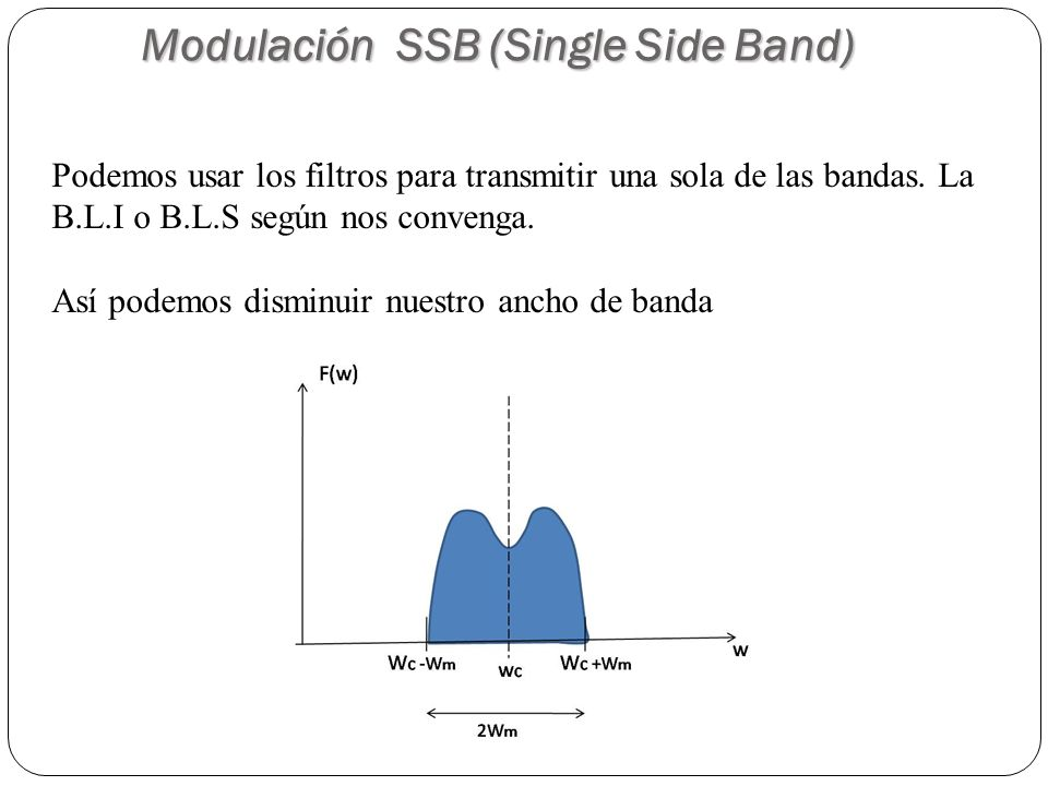 60 Modulación SSB (Single Side Band) Podemos usar los filtros para transmitir una sola de las bandas. La B.L.I o B.L.S según nos convenga. Así podemos