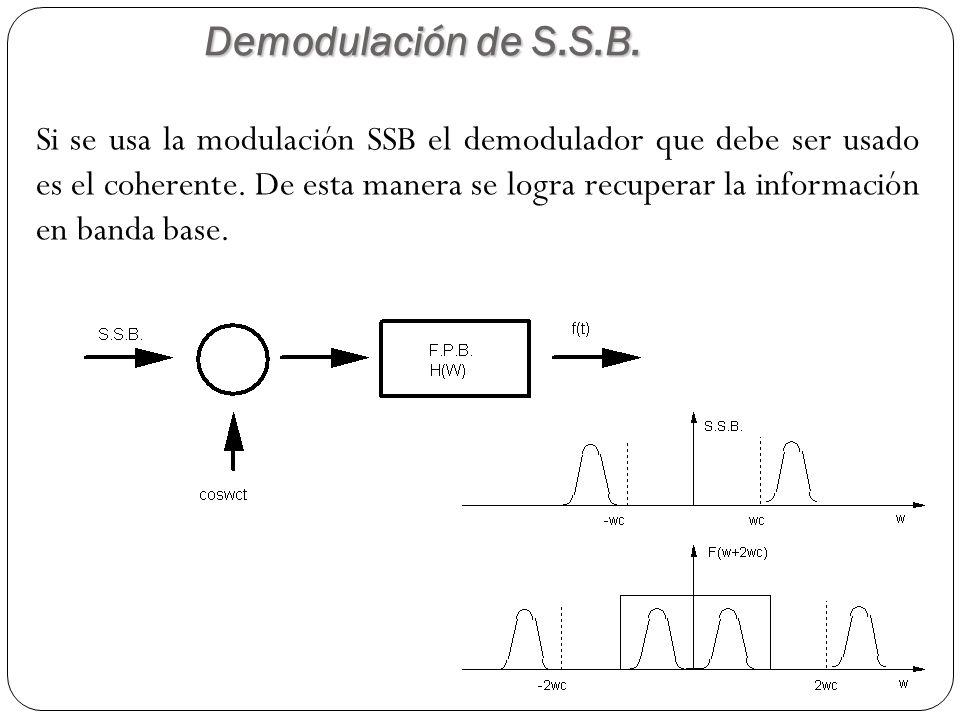 Demodulación de S.S.B. 62 Si se usa la modulación SSB el demodulador que debe ser usado es el coherente. De esta manera se logra recuperar la informac