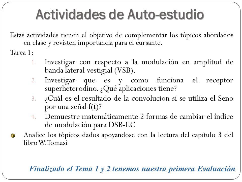 Actividades de Auto-estudio 66 Estas actividades tienen el objetivo de complementar los tópicos abordados en clase y revisten importancia para el curs