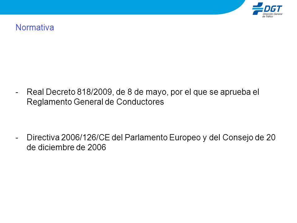Normativa -Real Decreto 818/2009, de 8 de mayo, por el que se aprueba el Reglamento General de Conductores -Directiva 2006/126/CE del Parlamento Europeo y del Consejo de 20 de diciembre de 2006