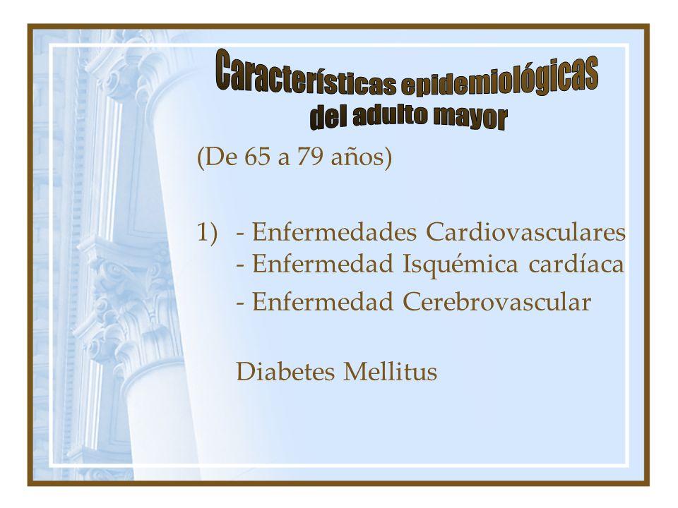 (De 80 hacia arriba) 1) Enfermedad Cardiovascular 2) Enfermedad del aparato Respiratorio 3) Disminución de la agudeza visual 4) Disminución de la agudeza auditiva 5) Salud Mental - Depresión - Deterioro cognitivo 6) Salud Oral