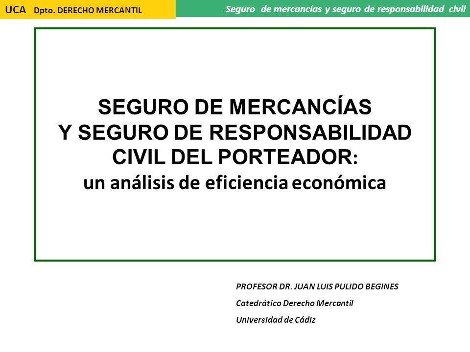 UCA Dpto. DERECHO MERCANTIL Seguro de mercancías y seguro de responsabilidad civil SEGURO DE MERCANCÍAS Y SEGURO DE RESPONSABILIDAD CIVIL DEL PORTEADO