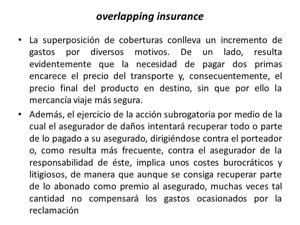 overlapping insurance La superposición de coberturas conlleva un incremento de gastos por diversos motivos. De un lado, resulta evidentemente que la n
