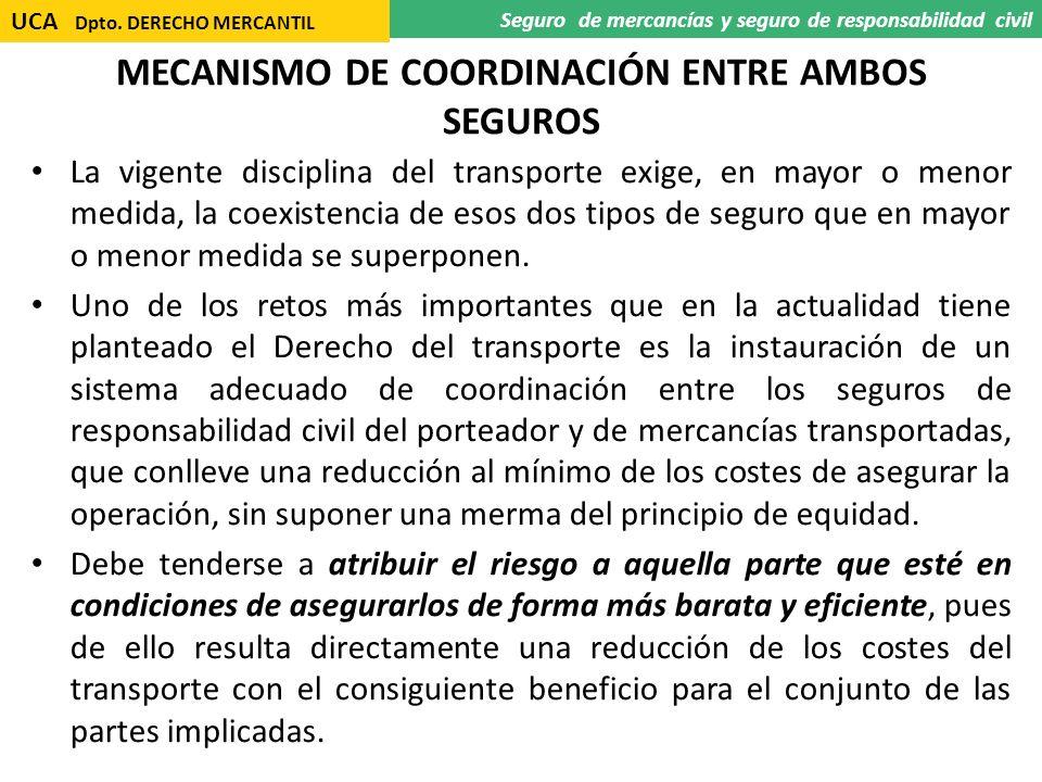 MECANISMO DE COORDINACIÓN ENTRE AMBOS SEGUROS La vigente disciplina del transporte exige, en mayor o menor medida, la coexistencia de esos dos tipos d