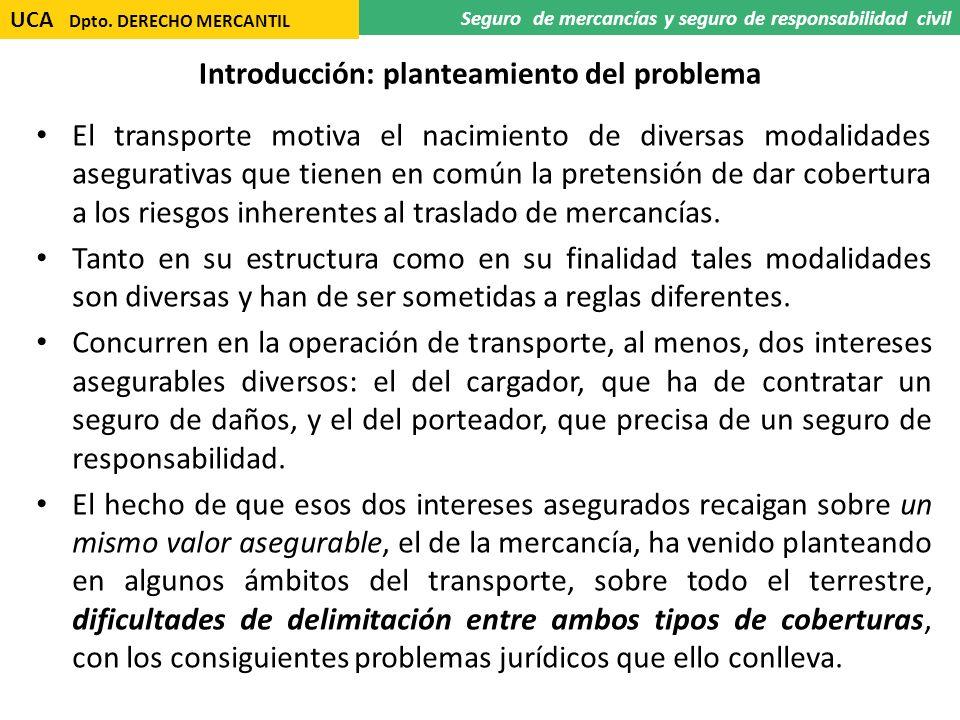 Introducción: planteamiento del problema El transporte motiva el nacimiento de diversas modalidades asegurativas que tienen en común la pretensión de
