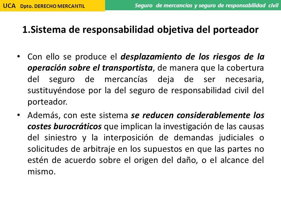 1.Sistema de responsabilidad objetiva del porteador Con ello se produce el desplazamiento de los riesgos de la operación sobre el transportista, de ma