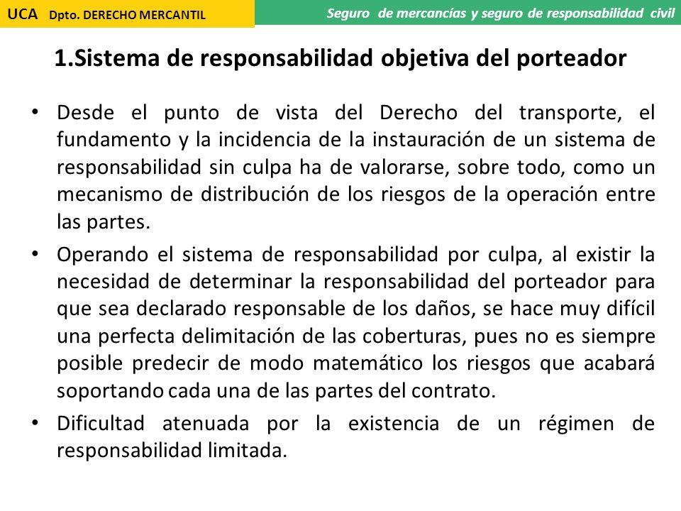 1.Sistema de responsabilidad objetiva del porteador Desde el punto de vista del Derecho del transporte, el fundamento y la incidencia de la instauraci