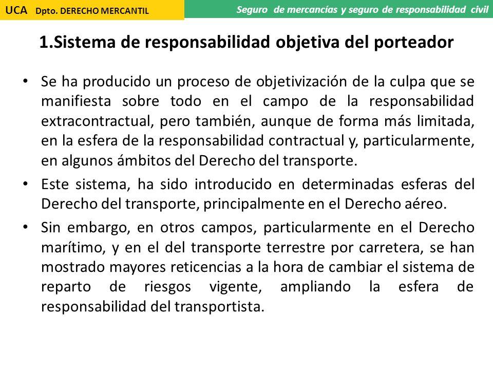 1.Sistema de responsabilidad objetiva del porteador Se ha producido un proceso de objetivización de la culpa que se manifiesta sobre todo en el campo