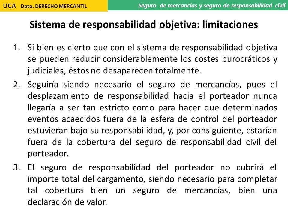 Sistema de responsabilidad objetiva: limitaciones 1.Si bien es cierto que con el sistema de responsabilidad objetiva se pueden reducir considerablemen