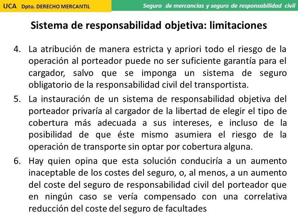 Sistema de responsabilidad objetiva: limitaciones 4.La atribución de manera estricta y apriori todo el riesgo de la operación al porteador puede no se