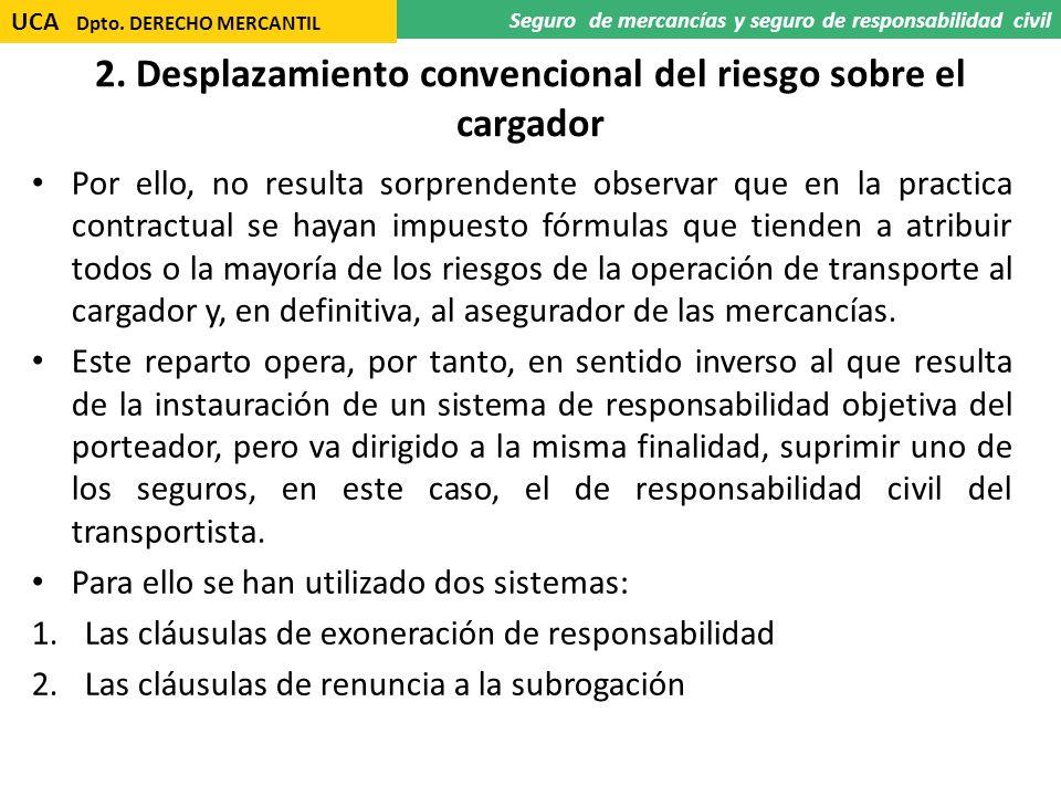 2. Desplazamiento convencional del riesgo sobre el cargador Por ello, no resulta sorprendente observar que en la practica contractual se hayan impuest