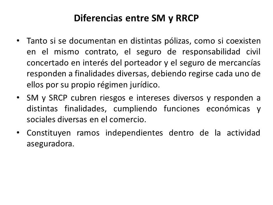 Diferencias entre SM y RRCP Tanto si se documentan en distintas pólizas, como si coexisten en el mismo contrato, el seguro de responsabilidad civil co