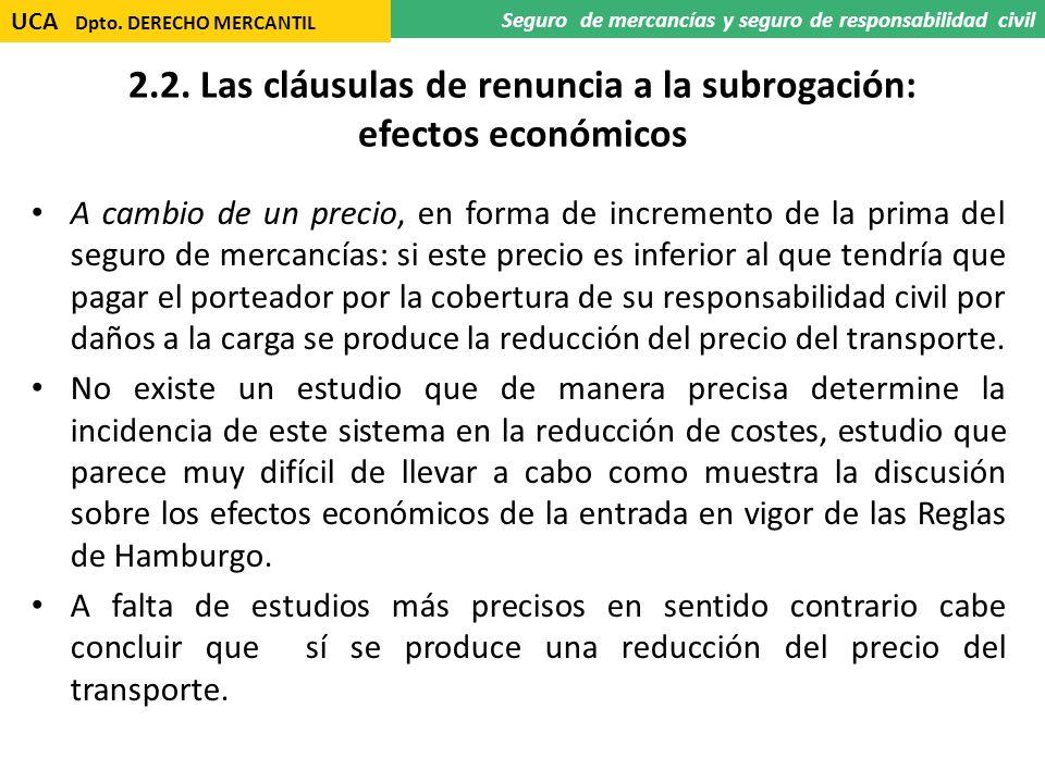 2.2. Las cláusulas de renuncia a la subrogación: efectos económicos A cambio de un precio, en forma de incremento de la prima del seguro de mercancías