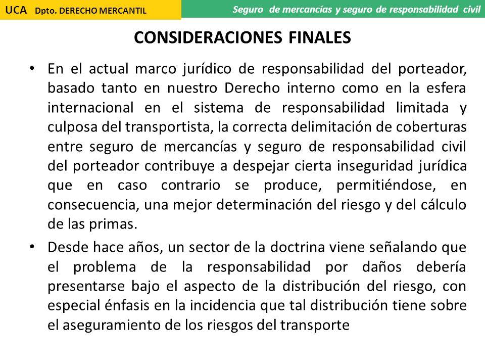 CONSIDERACIONES FINALES En el actual marco jurídico de responsabilidad del porteador, basado tanto en nuestro Derecho interno como en la esfera intern