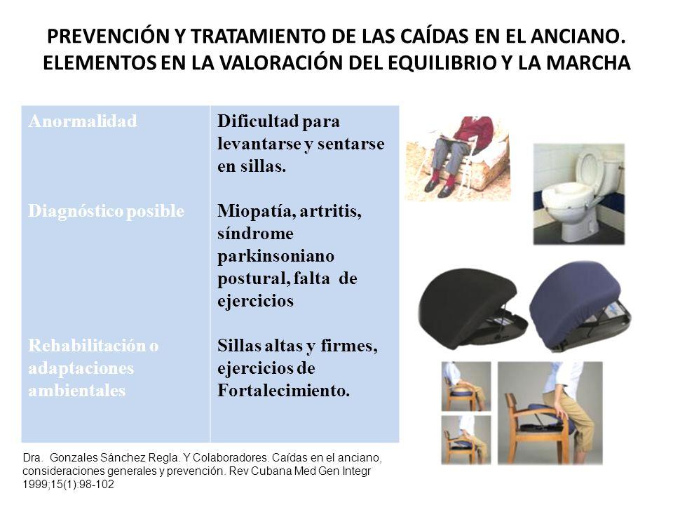 Anormalidad Diagnóstico posible Rehabilitación o adaptaciones ambientales Dificultad para levantarse y sentarse en sillas.